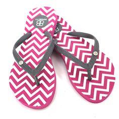 Pink Chevron Flip-flops with Grey Strap