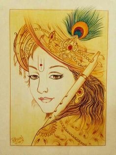 Coffee painting Krishna done by me like coment,share. if you are intrersted 👇👇👇👇👇👇👇👇 contact for home you can order of your sketch. Arte Krishna, Bal Krishna, Krishna Drawing, Krishna Painting, Lord Krishna Wallpapers, Radha Krishna Wallpaper, Mural Painting, Fabric Painting, Doodle Art Drawing