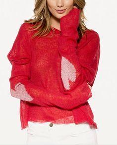 Pullover in cotone e lana sottile con romantici cuori nei gomiti. Con cappuccio. In offerta a € 12,90 su http://qpoint.eu/prodotto/pullover-di-cotone/