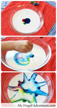 Easy milk painting for children- just a few simple ingredients and you can create beautiful, swirling firework art.
