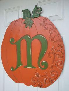 beautifully handpainted pumpkin with monogram