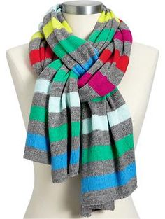 Women's Multi-Stripe Sweater-Knit Scarves | Old Navy - love the colors and the scarf-tying!