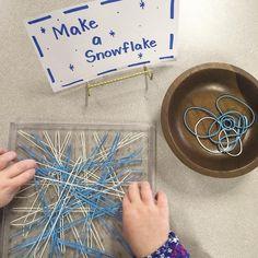 A wonderful fine motor invitation to create snowflakes - New Ideas Eyfs Activities, Gross Motor Activities, Winter Fun, Winter Theme, Winter Ideas, Snow Theme, Winter Activities For Kids, Preschool Art, Fine Motor