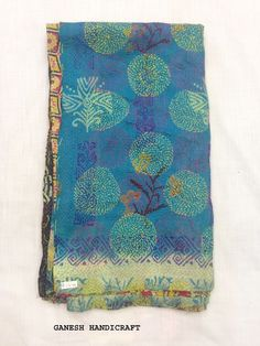 Vintage Silk Hand Quilted Kantha Circle Work Stoles Reversible Shawl Scarf 3471