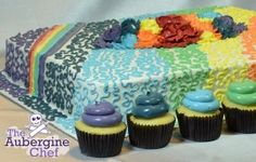 Rainbow sheet cake with cupcakes | The Aubergine Chef