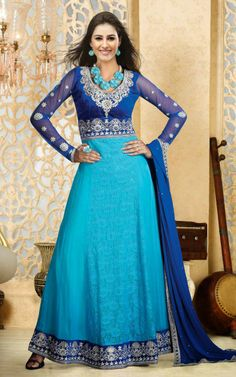 Sensational Blue Long Anarkali Salwar Suit (DIF 28520)