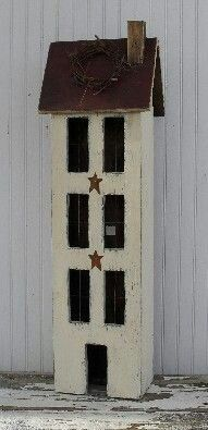 Large 4 Story Primitive House Make it open with shelves it can hide tp! Primitive Wood Crafts, Primitive Furniture, Wooden Crafts, Country Primitive, Saltbox Houses, Bird Houses, Prim Decor, Rustic Decor, Country Crafts