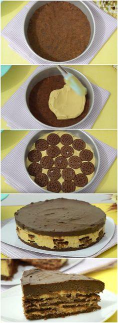 A Torta MAIS GOSTOSA DO MUNDO que não vai ao forno! Muito fácil de fazer, eu amo!!! (veja a receita passo a passo) #torta #sobremesa #chocolate #biscoito