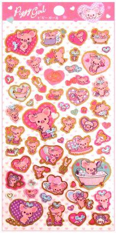 San-x Piggy Girl Beauty Sticker Sheet