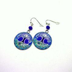 Boucles d'oreilles cabochons résine 25mm motif arbre de vie couleurs bleues