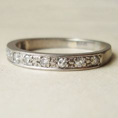 Vintage 18k White Gold Diamond Eternity Ring, Vintage Wedding Ring Engagement Band Ring, Size US 6. $348.00, via Etsy.