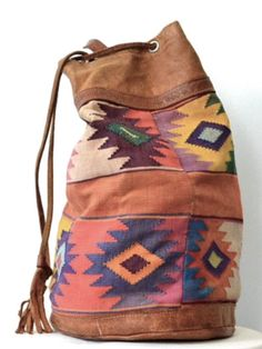Love this leather & kelim bag!