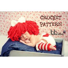 Raggedy Ann Set - PATTERN ONLY CROCHET-  Newborn to 18 month size