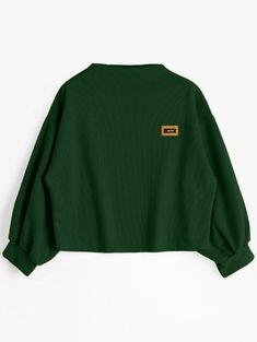 SHARE & Get it FREE | Badge Patched Lantern Sleeve Sweatshirt - Blackish GreenFor Fashion Lovers only:80,000+ Items • New Arrivals Daily Join Zaful: Get YOUR $50 NOW!
