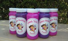 bubbles with Dora stickers for party favor bags.