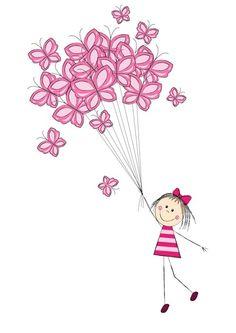 Butterfly balloons Pink Art from $34.99   www.wallartprints.com.au #PinkArt #KidsWallArt