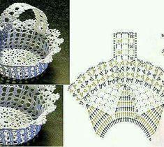 Crochet Vase, Diy Crochet Basket, Thread Crochet, Crochet Doilies, Crochet Flowers, Filet Crochet, Crochet Diagram, Crochet Chart, Flower Chart