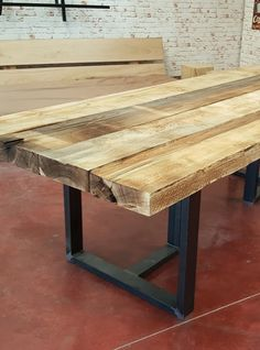 Table handmade rustic industrial style with old wood of a door age ...