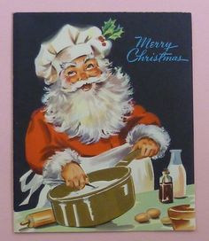 Vintage Greeting Santa Cooking with His Gold Pot Christmas Card | eBay