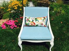 Vintage Shabby Chic French Moderne Chair Chalk Painted White & Blue Gorgeous! #ShabbyChic #Cottage