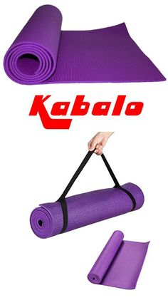 Kabalo - PURPLE 173cm long x 61cm wide - EXTRA THICK 6mm - Non-Slip Yoga Mat with carry strap, also for Exercise / Gym / Camping, etc