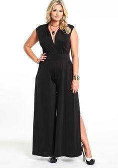 Double Side Slit Jumpsuit, BLACK, large