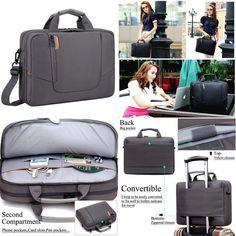 Ergonomic Laptop Bag MacBook Notebook Case Messenger Bag Pockets Shoulder Strap