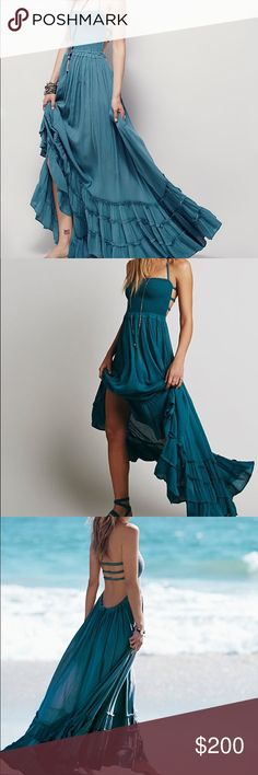 Sold out free people extratropical maxi dress teal Gorgeous Free People Dresses