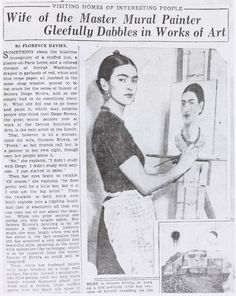 """This is how The Detroit News covered Frida Kahlo in 1933. This photo was likely taken at The Wardell, now known as the Park Shelton #Detroit. Go see the Frida and Diego show, tickets to the public on sale now at the Detroit Institute of Arts"" - Staff Writer, Louis Aguilar"