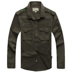 NIANJEEP 2016 Cotton Denim Men Shirts Long Sleeve Military Army Green Casual Shirt Brand Clothing Camisa Masculina A0702