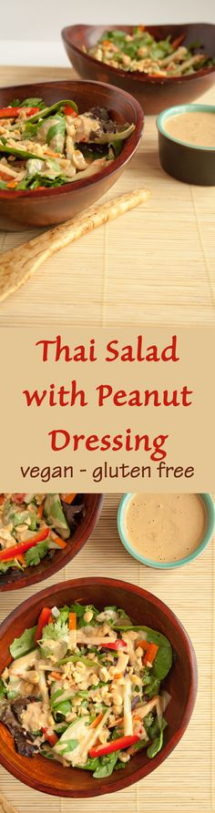 Thai Salad with Peanut Dressing (vegan, gluten free) -  This salad has all the components of Thai spring rolls and is seriously addictive!