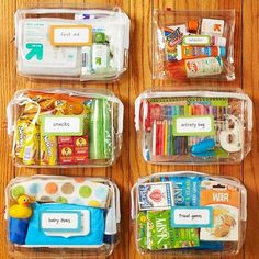 Use clear bags to keep diaper bag organized... First Aid, Snacks, Activities, Baby Items etc
