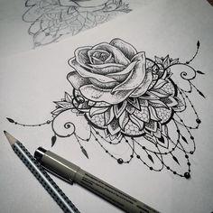 mandala tattoo rose dotwork on Instagram                                                                                                                                                                                 More