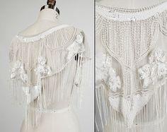 SEQUIN BEADED cape collar shrug neckline top shawl capelet lace art deco flapper fringe