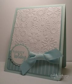 Stamping Expressions: Stamp Something Challenge--embossed snowflake top, DSP bottom, ribbon and scalloped sentiment