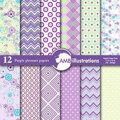 Purple Pattern Digital Paper Graphics Digital papers in purples, lilacs, greens and some teals. Floral, chevron dots, geometric patterns by AMBillustrations Photography Supplies, Papel Scrapbook, Image Paper, Purple Pattern, Pink Paper, Digital Pattern, Printing On Fabric, Floral, Prints