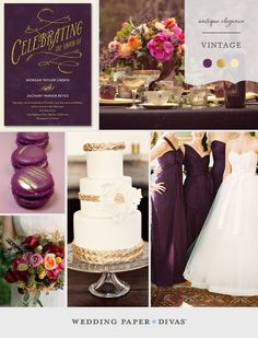Play up the antique elegance of a vintage themed wedding with a color palette of deep aubergine and antique gold. Add an unexpected pop of color with bright blooms.