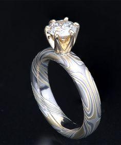 prong diamond mokume-gane engagement ring