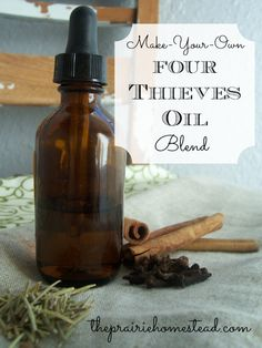 Four Thieves Oil- dilute it, then rub it on the soles of your feet to combat colds & flus and to boost your immune system.