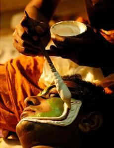 Chutti - natural substances and herbs used in kathakali face painting