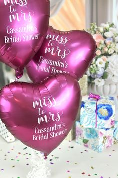Bridal Shower Balloons - Add personality to your bridal shower with heart-heart shape Mylar balloons personalized with a fun bridal shower or wedding design and the bachelorette's name. Wedding Balloon Decorations, Wedding Balloons, Bridal Shower Balloons, Bridal Shower Games, Wedding Guest Book, Wedding Day, Destination Wedding, Wedding Planning, Wedding Entertainment