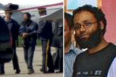 """RCMP lead a man off an airplane at Buttonville Airport on Monday (left), after announcing arrests after thwarting a major terrorist attack. Raed Jaser of Toronto and Chiheb Esseghair (pictured, right) of Montreal faces terrorism-related charges for allegedly conspiring to carry out an """"Al Qaeda-supported attack."""""""
