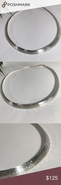 """950 Sterling Silver Milor Italy necklace 28.8g Absolutely gorgeous Milor Italy 950 (95%) Sterling Silver Necklace. Weighs 28.8g, 18"""" long, over 1/4"""" wide.  Excellent condition. Milor Italy Jewelry Necklaces"""