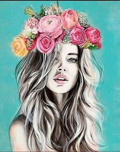 Girls with Flower Crown Drawing Girls with Flower Crown Drawing. Girls with Flower Crown Drawing. Flower Crown Girl by On Deviantart in flower crown drawing Drawings Girls With Flowers In The Hair Art Pop, Photography Projects, Art Photography, Fashion Photography, Flower Crown Drawing, Flower Drawings, Arte Fashion, Creation Art, Art Inspo