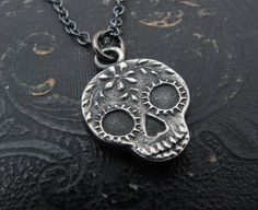 sugar skull necklace day of the dead by SharonClancyDesigns