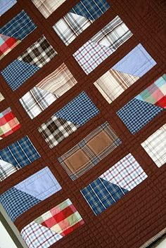 Dad's Shirts Keepsake Quilt ~ I really like this idea. Wish  had the dimensions of the blocks!