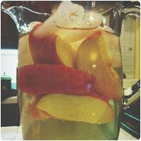 apple cinnamon detox water; zero calories , metabolism boosting, purifies your body, & can help clear skin impurities. 1-2 apples sliced thinly with peel, 3-4 cinnamon sticks, 1 & 1/2 teaspoon cinnamon powder, 2 tablespoon apple cider vinegar (optional), 2 liters of water Steep in fridge overnight & drink throughout the day