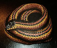 Hand Painted Rock Art  Brown Garter Snake by amylenore on Etsy, $45.00
