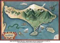 Oblique #map view of #Bali, by Miguel Covarrubias approx 1930-1937