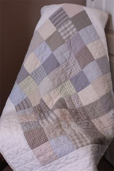 Baby Quilt  Low Volume Recycled Men's Shirts by PebbleCreekArts, $200.00